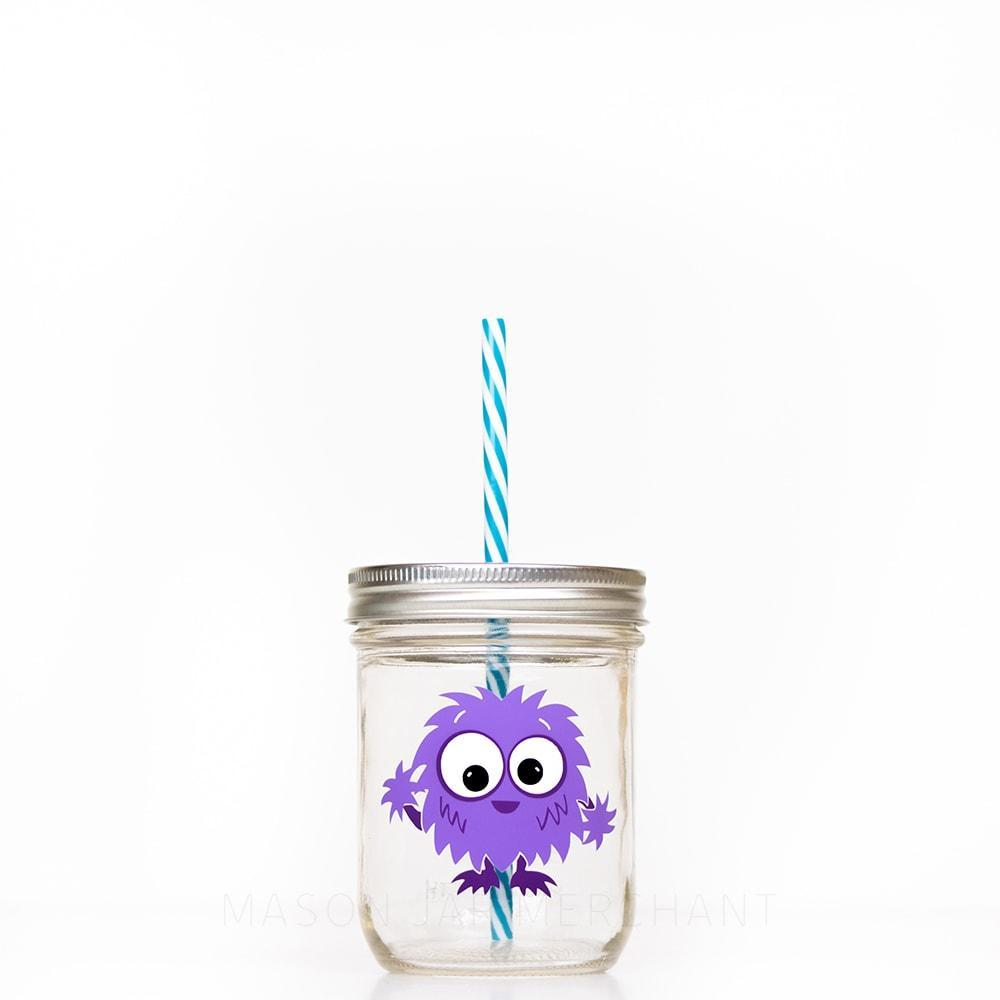 purple little monster design on 16 oz reusable water bottle for kids