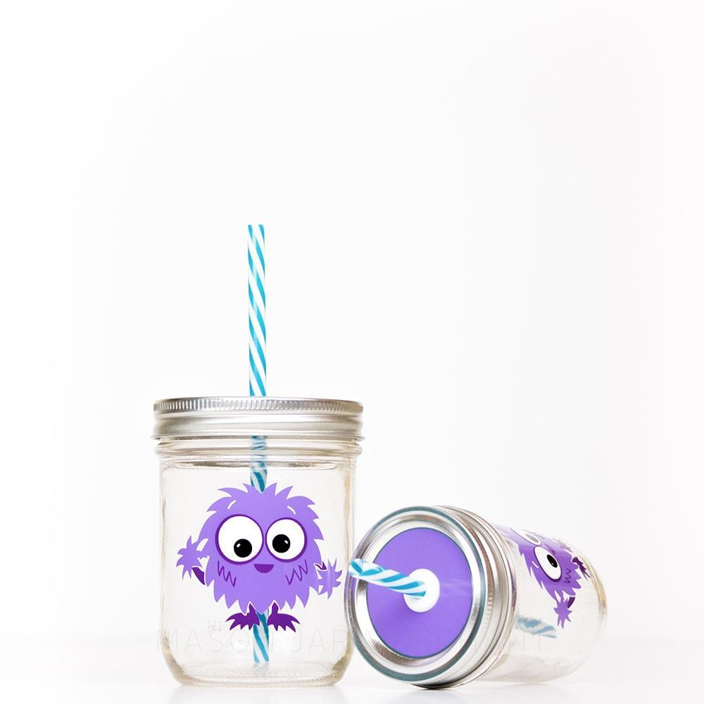 purple monster reusable water bottle with straw for kids