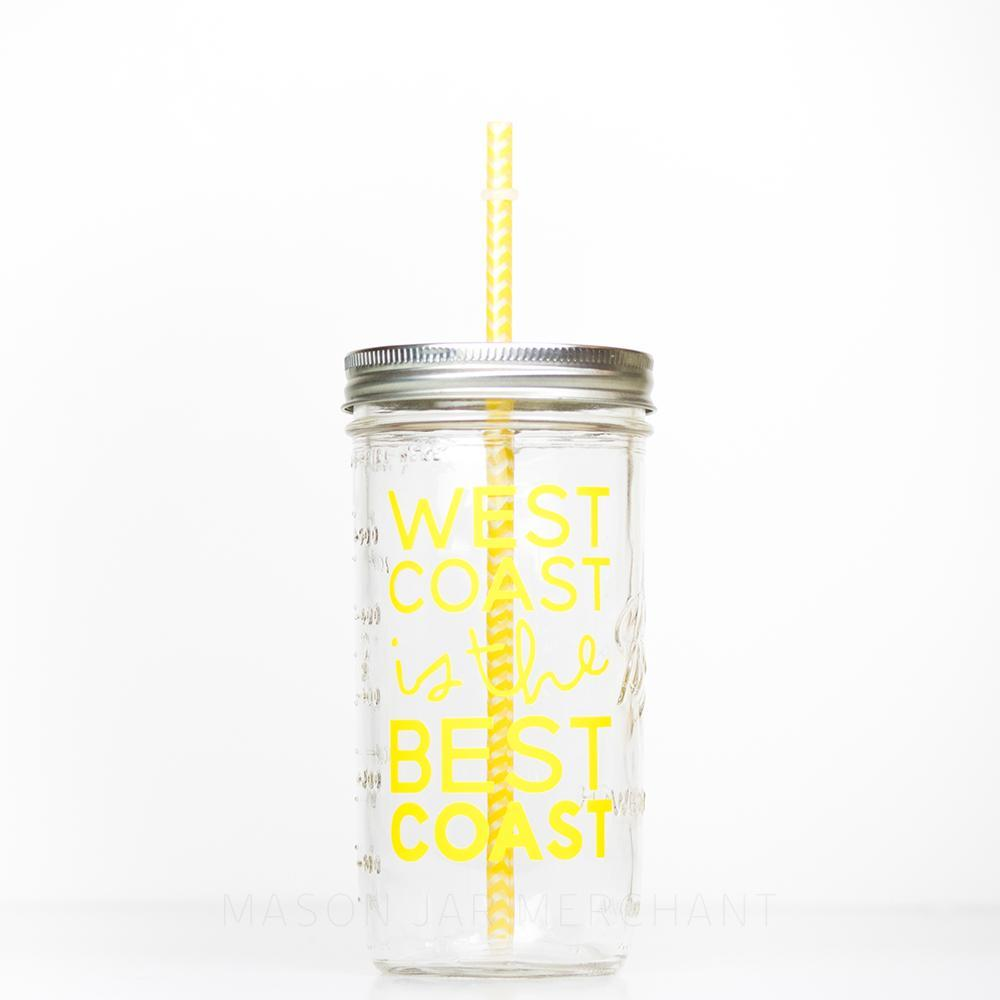 'West Coast is the Best Coast'- Mason Jar Tumbler in {Canary Yellow}
