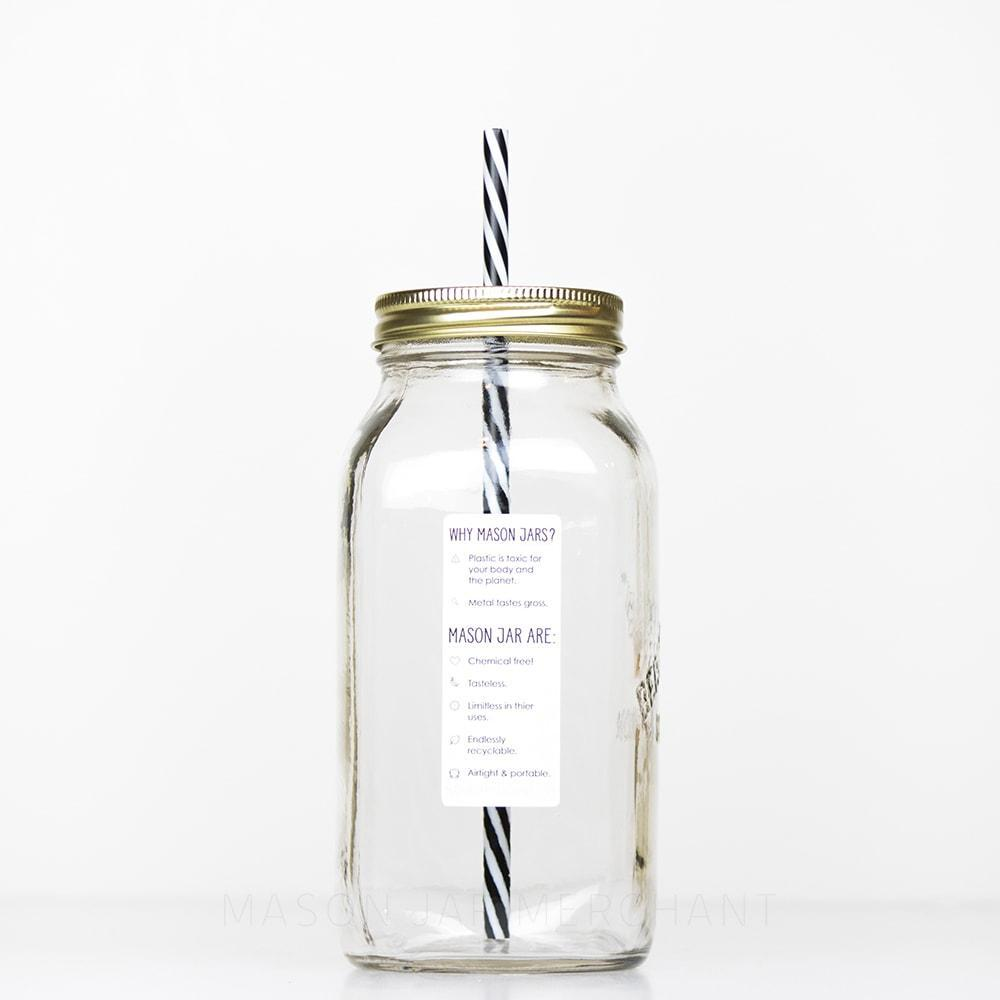 32 oz regular mouth reusable glass mason jar tumbler
