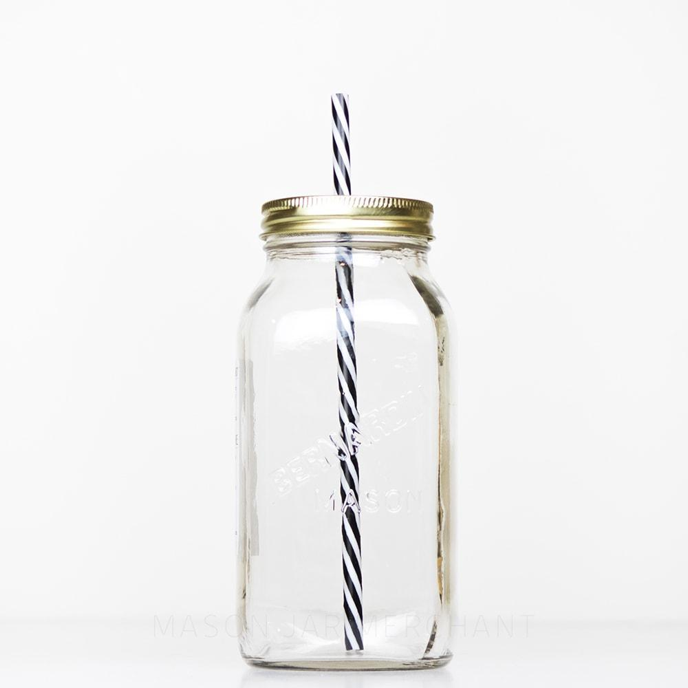 32 oz regular mouth reusable glass mason jar tumbler with straw lid and reusable straw