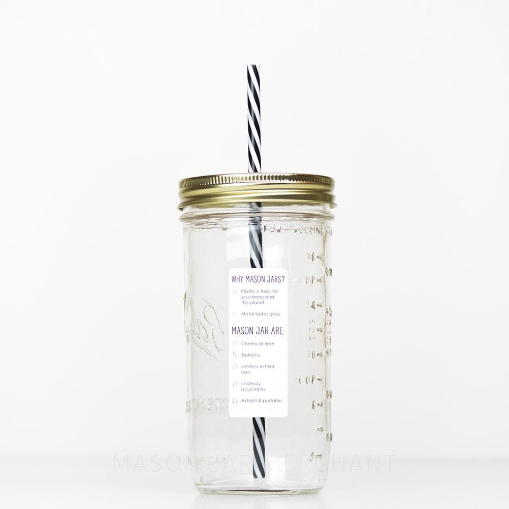 24 oz reusable glass mason jar tumbler with straw lid and reusable straw