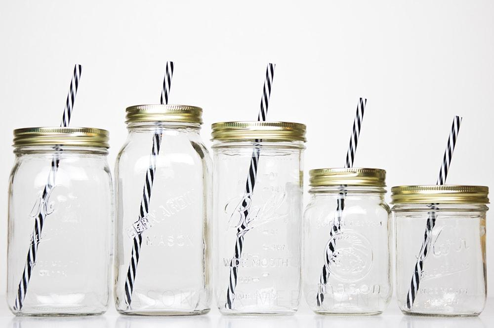 reusable glass mason jar tumbler available in five sizes