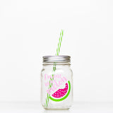 16 oz regular mouth reusable glass mason jar tumbler with straw lid and reusable straw