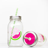 two reusable glass mason jar tumblers in pink and green