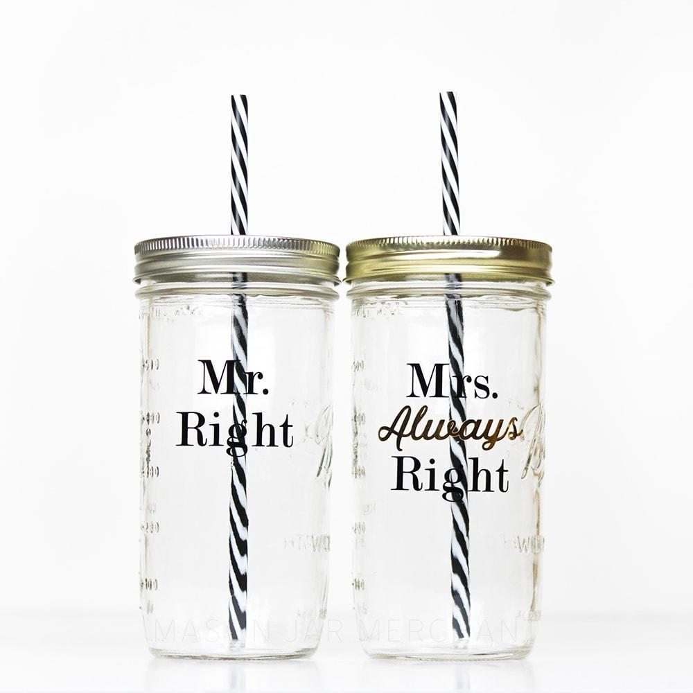 'Mr. Right' Mason Jar Tumbler