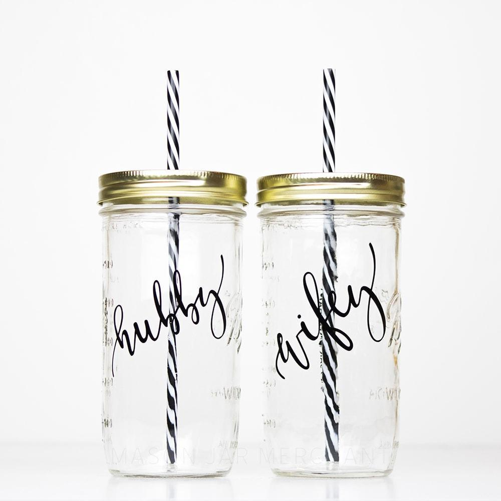 set of hubby and wifey reusable glass water bottles perfect wedding gift idea