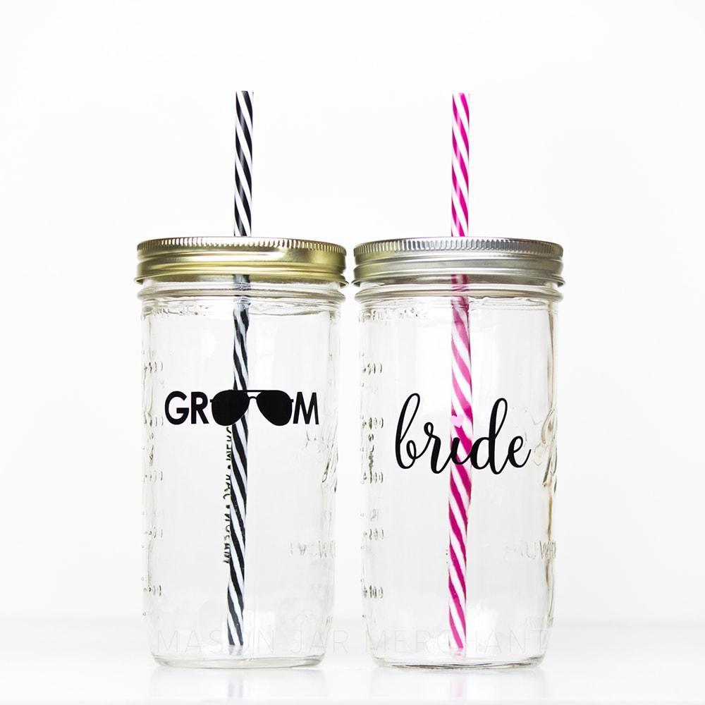 'Bride with Heart' Mason Jar Tumbler