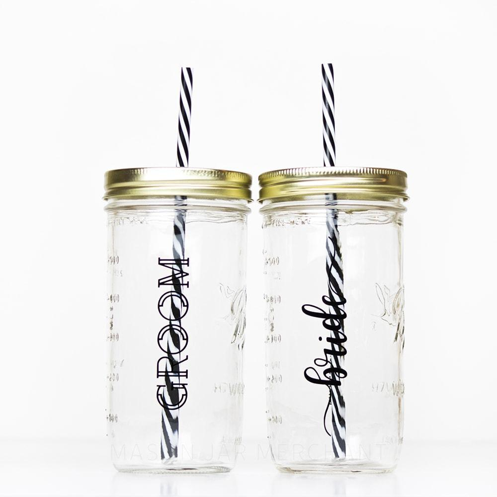 Bride and Groom 24 oz reusable glass mason jar tumbler with straw lid and reusable straw