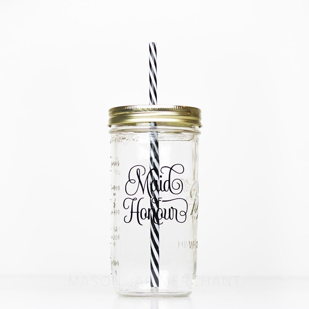 maid of honor reusable water bottle with straw 24 oz