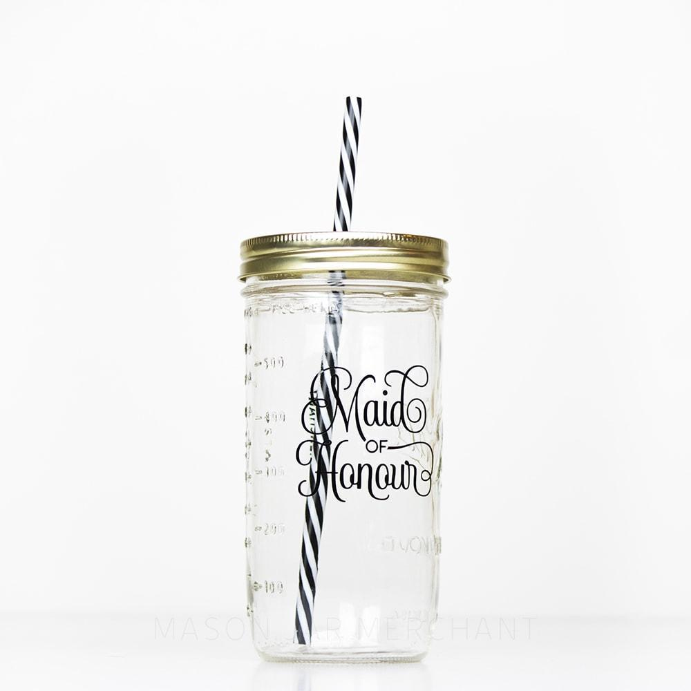 24 oz reusable glass mason jar tumbler with straw lid and reusable straw for maid of honour