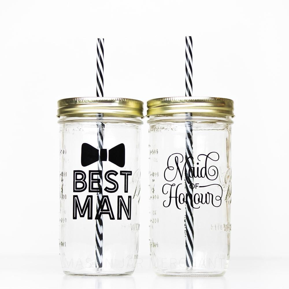set of best man and maid of honour reusable water bottles perfect gift for bridal party