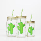 three cactus reusable water bottles with straws