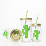 green cactus with pink flowers on a reusable glass water bottle with straw in a variety of sizes