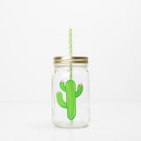 green cactus with pink flowers on a reusable water bottle with straw 32 oz