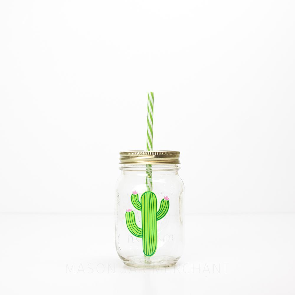 green cactus with pink flowers on a 16 oz reusable water bottle