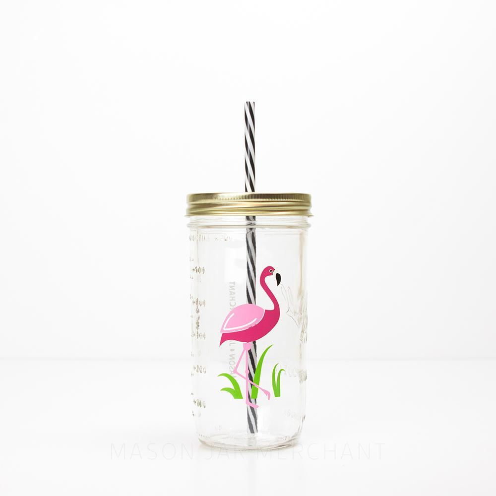 24 oz reusable glass water bottle with straw with a pink flamingo on it