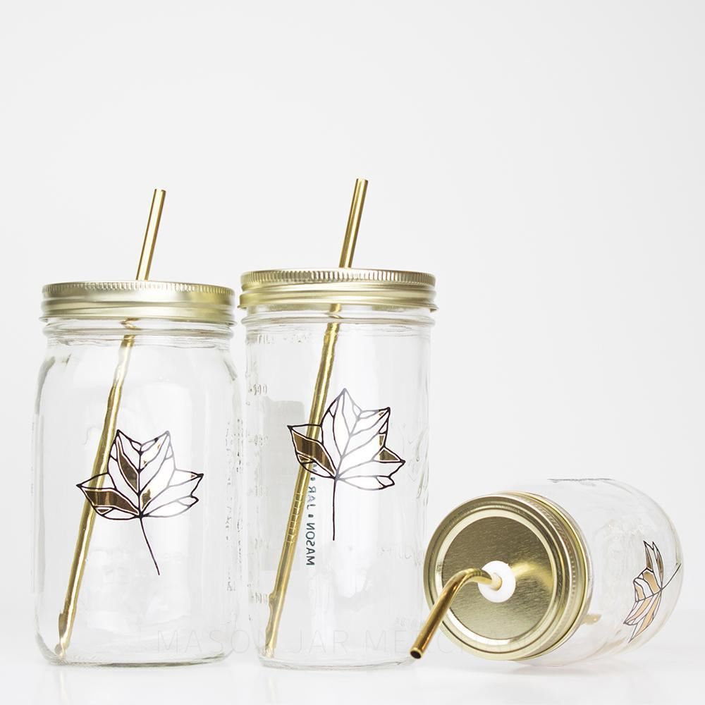 Botanical Quartet Line Art With Gold Mason Jar Tumblers - 'Leaf'
