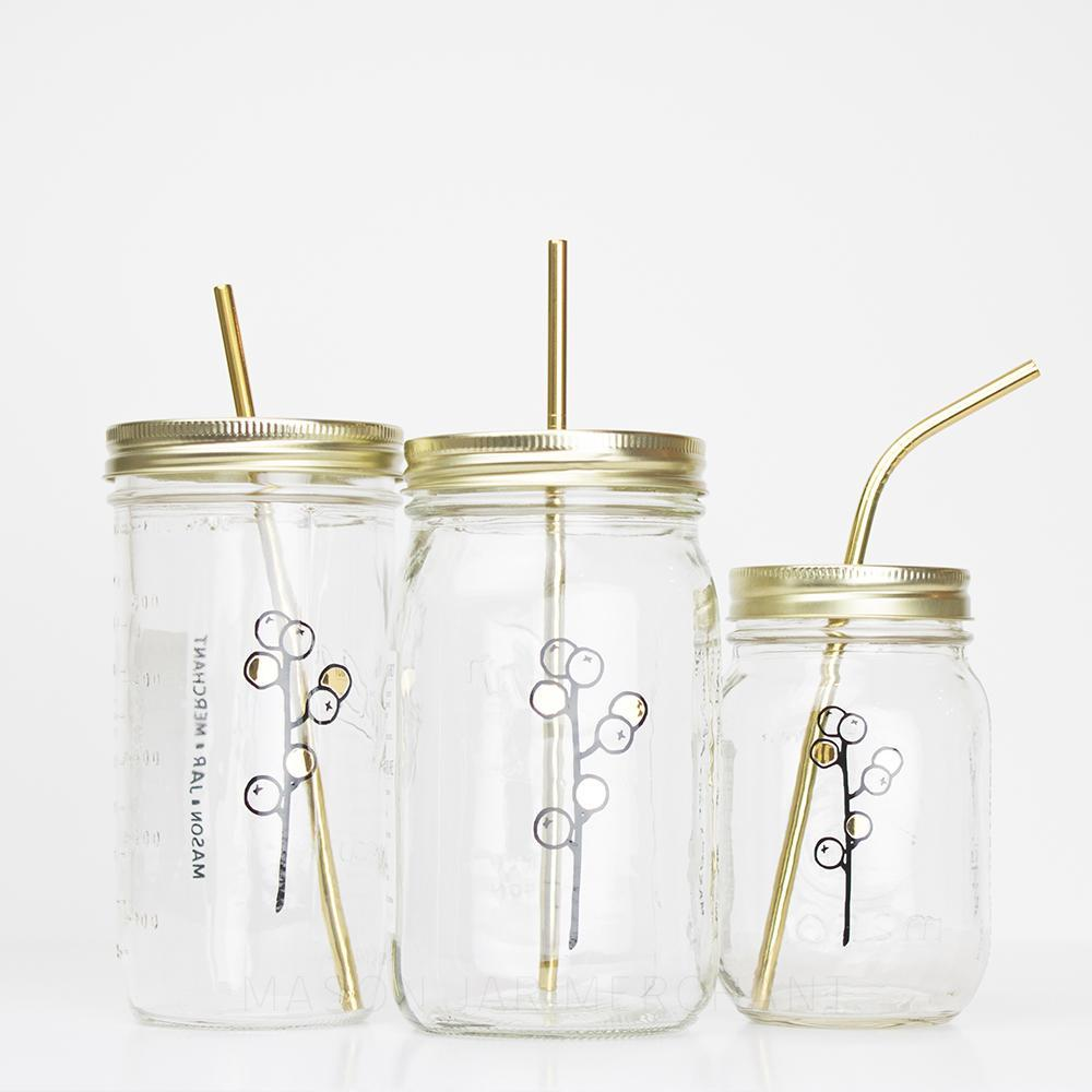 Botanical Quartet Line Art With Gold Mason Jar Tumblers - 'Berries'