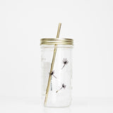 Botanical Quartet Line Art With Gold Mason Jar Tumblers - 'Seeds'
