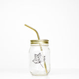 Botanical Quartet Line Art Mason Jar Tumblers - 'Leaf'