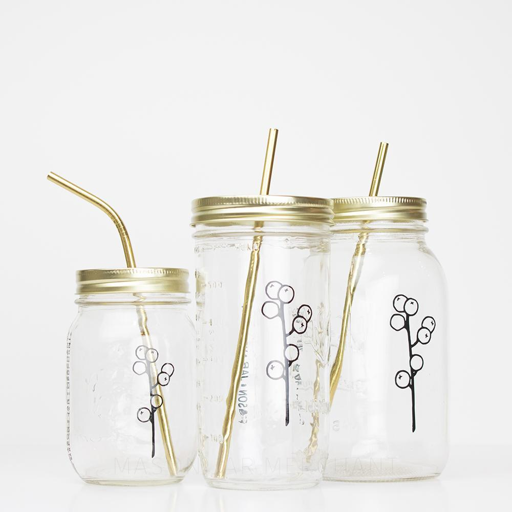 Botanical Quartet Line Art Mason Jar Tumblers - 'Berries'