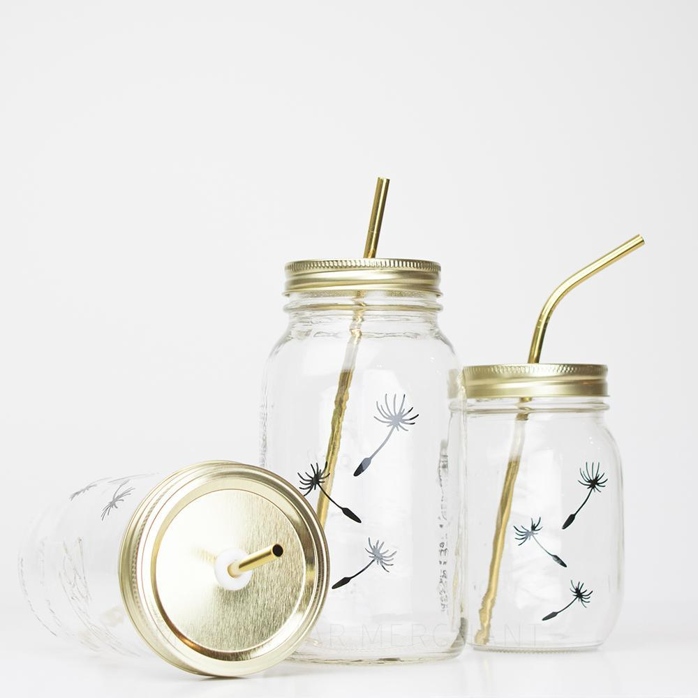 Botanical Quartet Line Art Mason Jar Tumblers - 'Seeds'