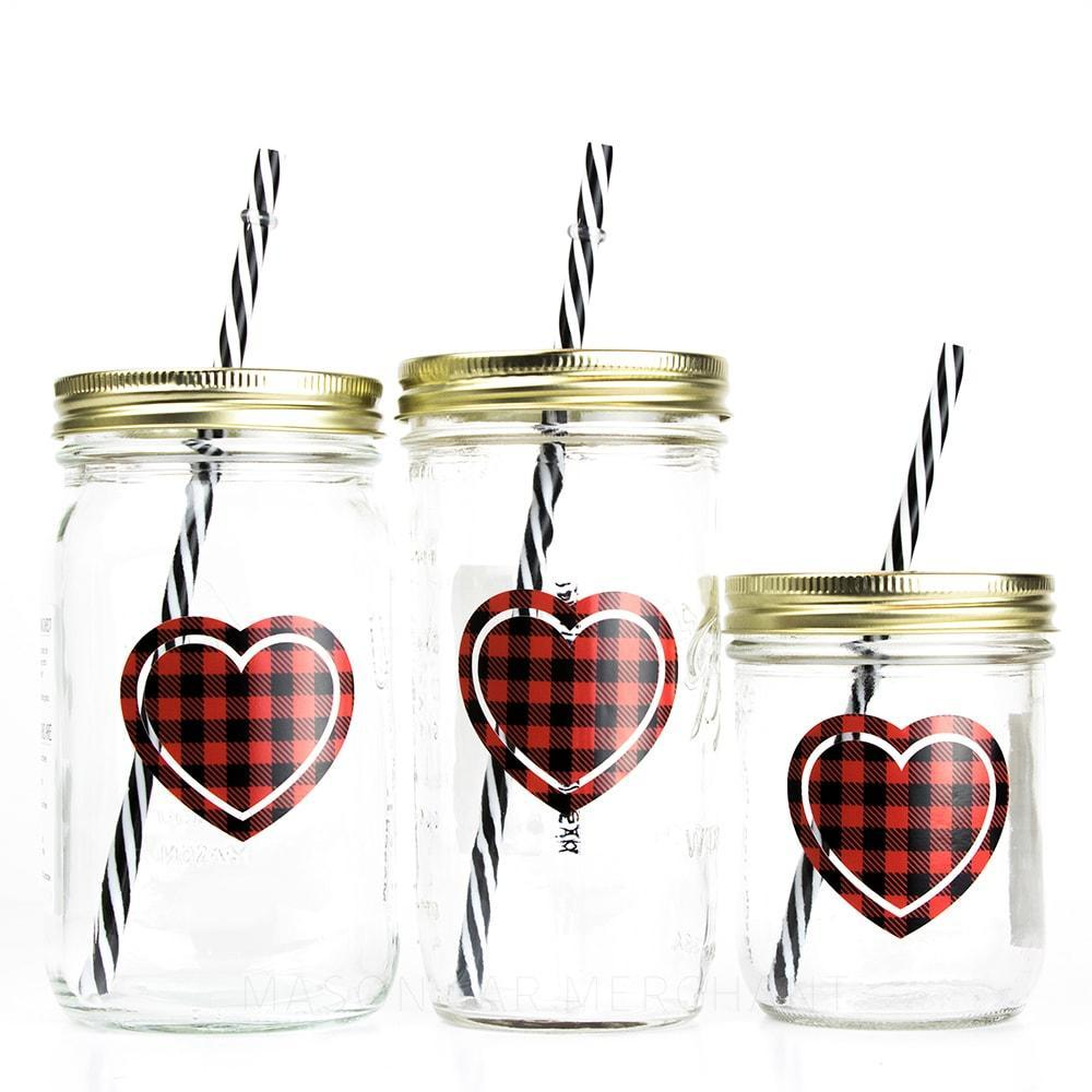 'Buffalo Plaid Heart' Mason Jar Tumbler