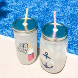 bad buoy and nautigirl reusable water bottles with straws