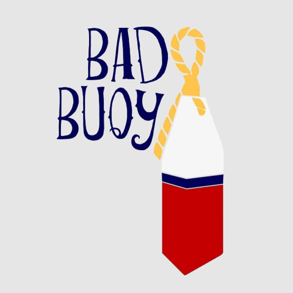 navy white red and yellow bad buoy graphic