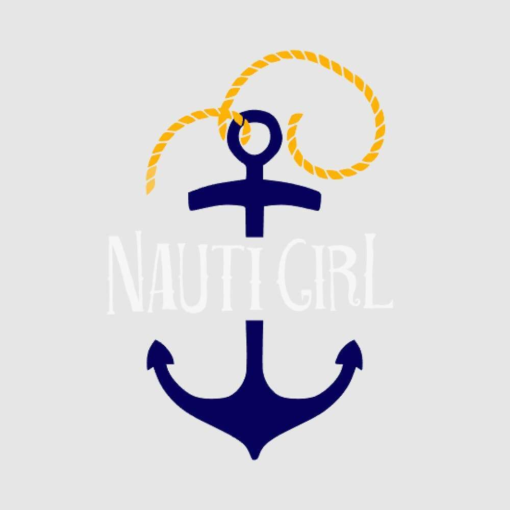navy anchor and yellow rope with white nauti girl graphic