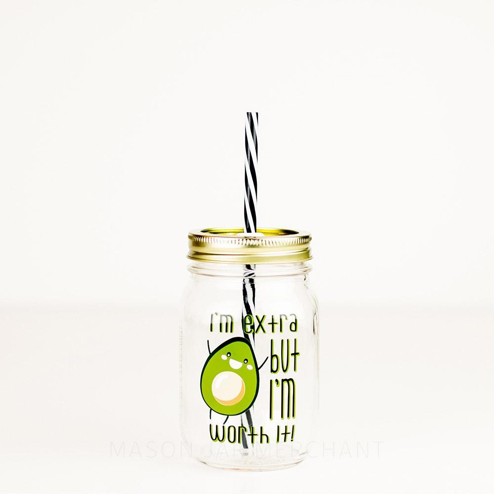 I'm extra but I'm worth it avocado reusable glass tumbler with reusable straw
