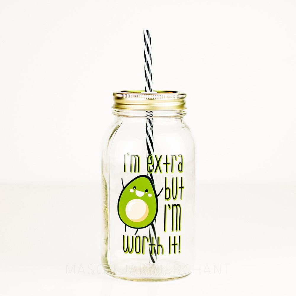 funny avocado reusable water bottle 32 oz