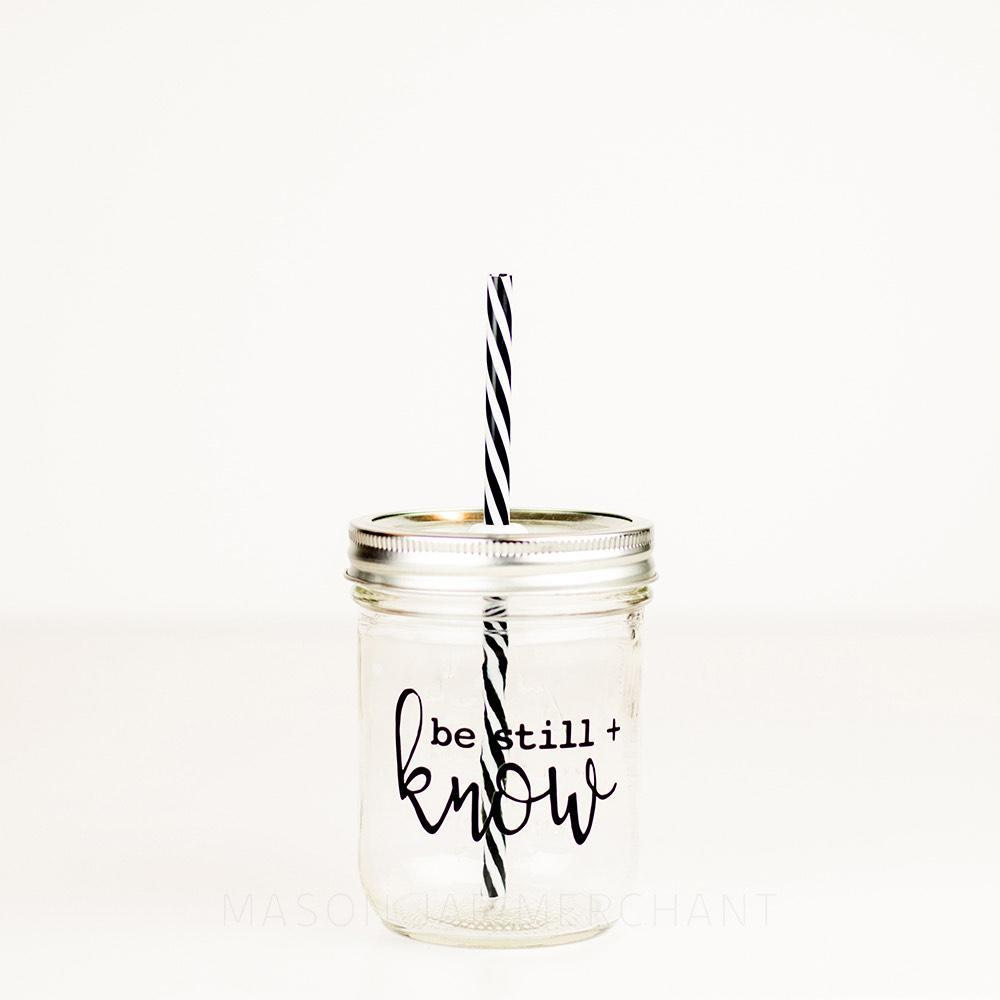 16 oz be still and know glass tumbler with straw