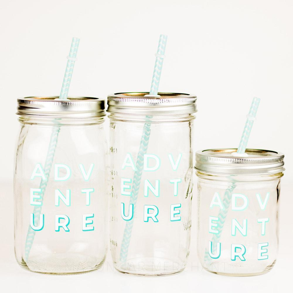 reusable glass mason jar tumbler for the adventurer available in three sizes
