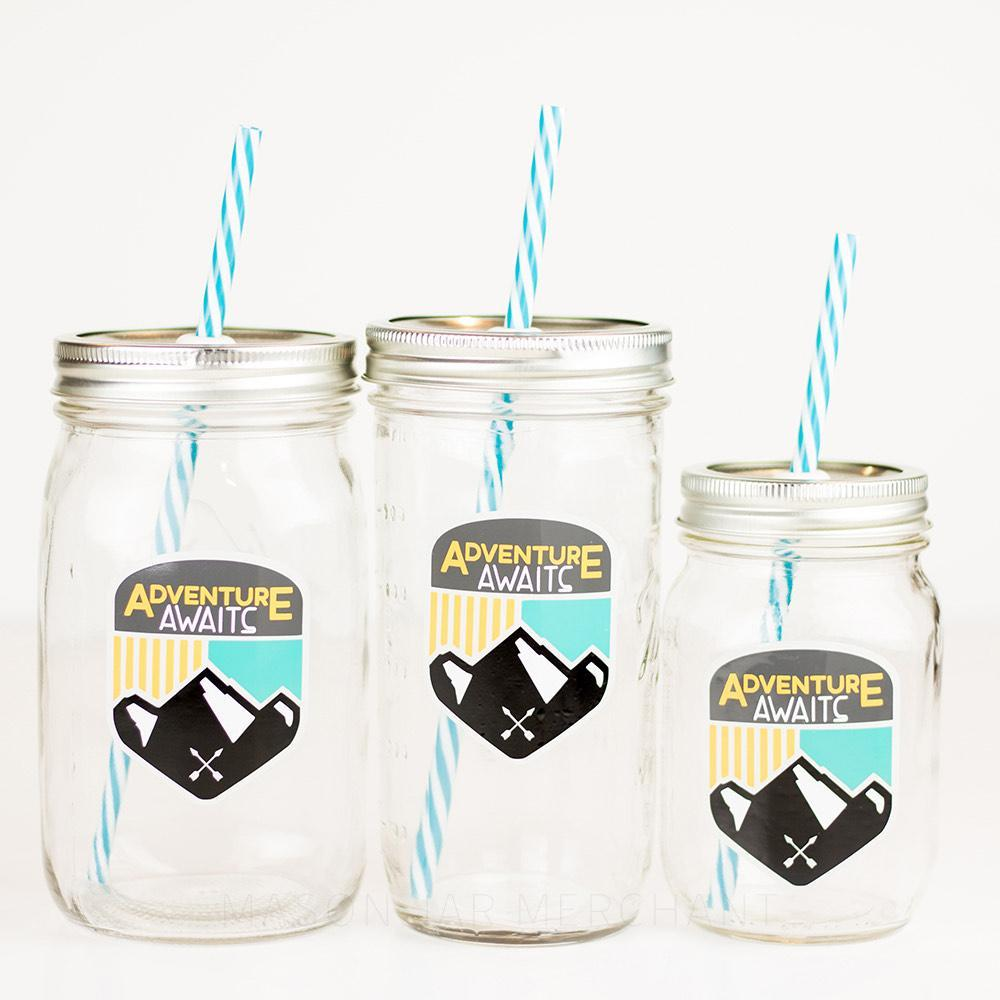 three sizes of reusable glass mason jar water bottles