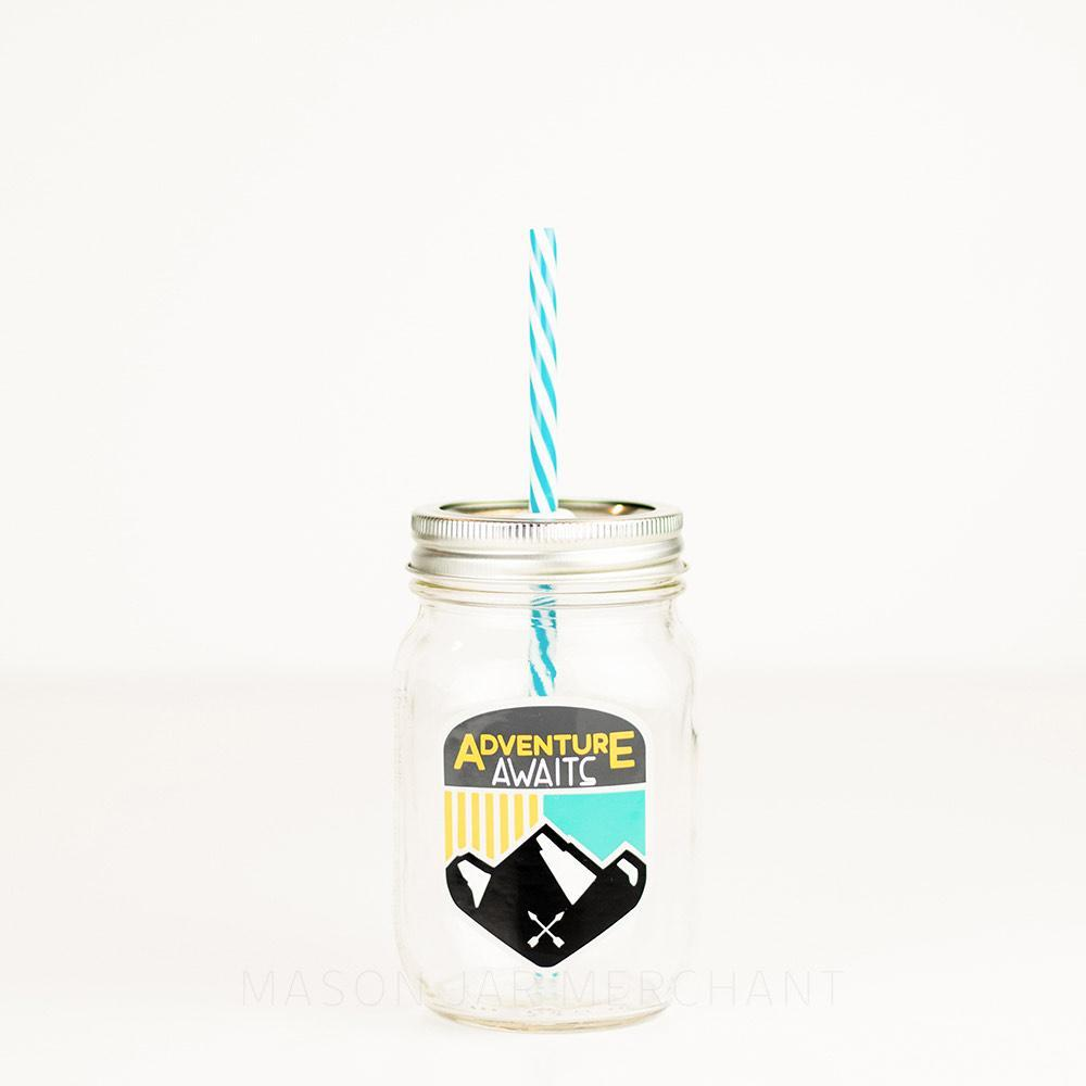 adventure awaits design on a 24 oz reusable glass water bottle