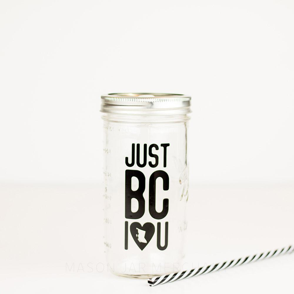 eco-friendly souvenir British Columbia Canada souvenir mason jar glass water bottle