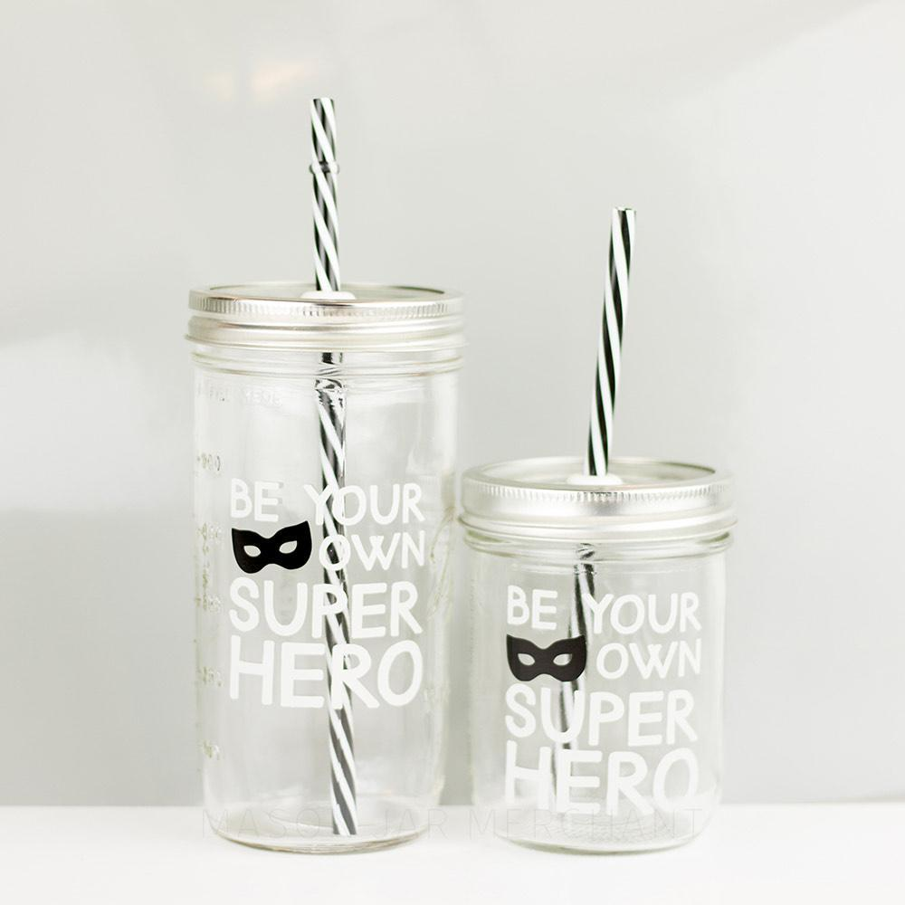 'Be Your Own Kind Of Superhero' Mason Jar Tumbler