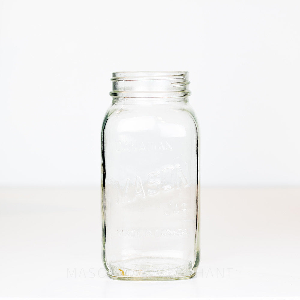 "Regular mouth quart mason jar with ""Canadian Mason Jar - Made in Canada"" logo against a white background"