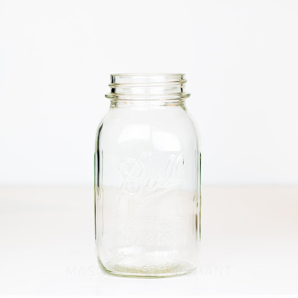 Ball regular mouth quart mason jar with logo showing  on a white background