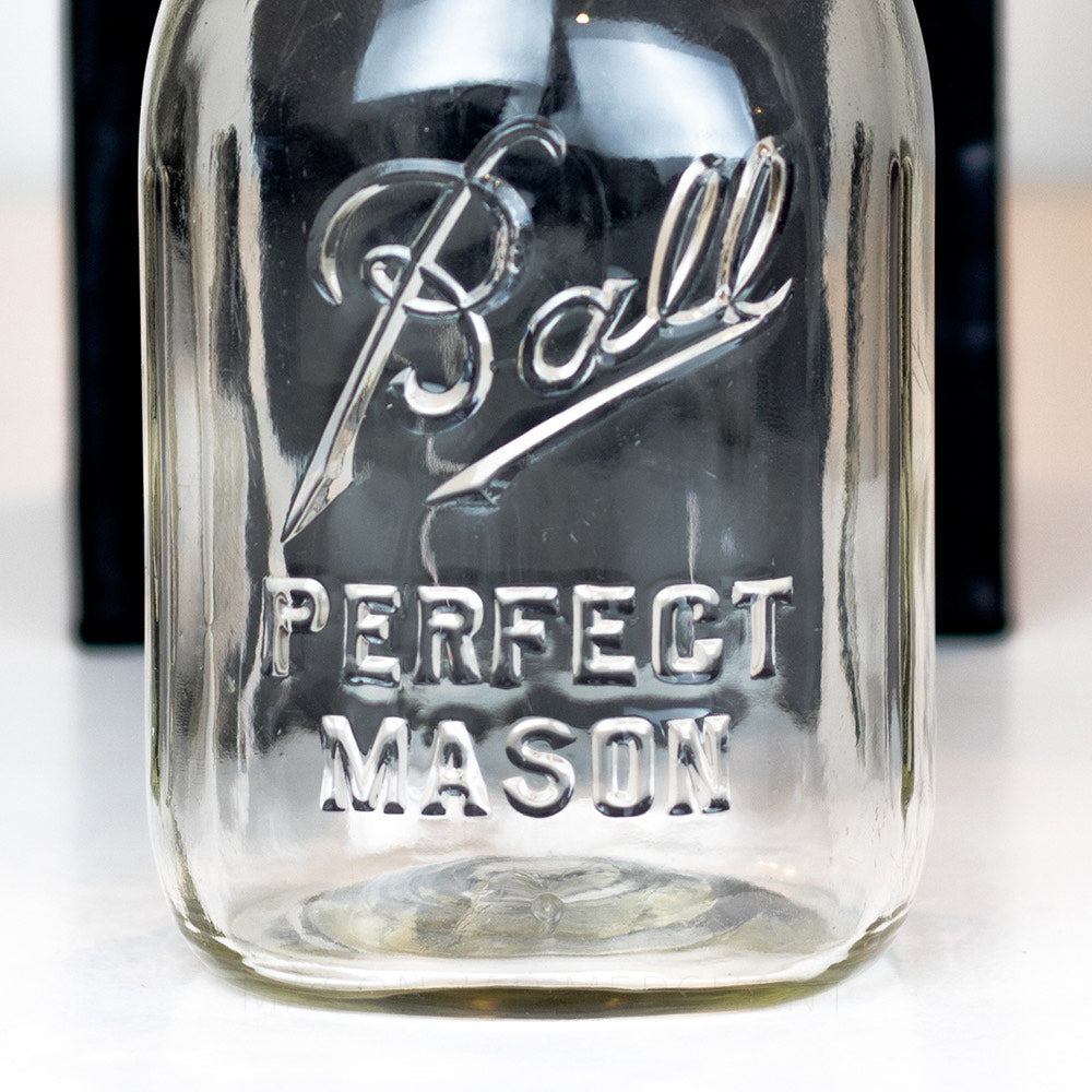 Closeup of Ball Perfect Mason jar logo