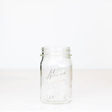 Wide mouth pint mason jar with Kerr self-sealing logo