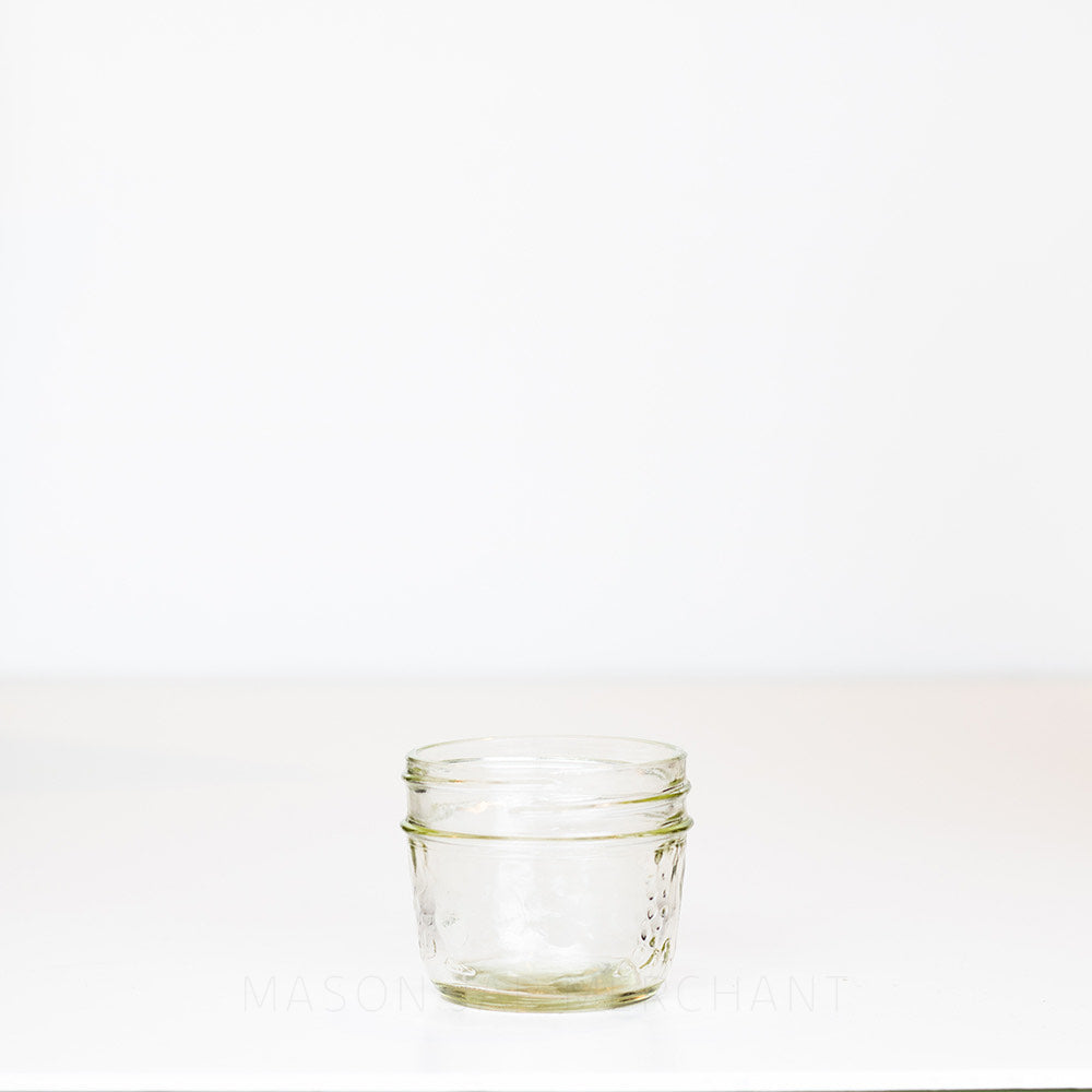 Fruity Quarter Pint - 4 oz - Regular Mouth  Mason Jar on white background