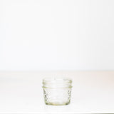 3 oz. regular mouth mason jar with a quilted pattern on a white background