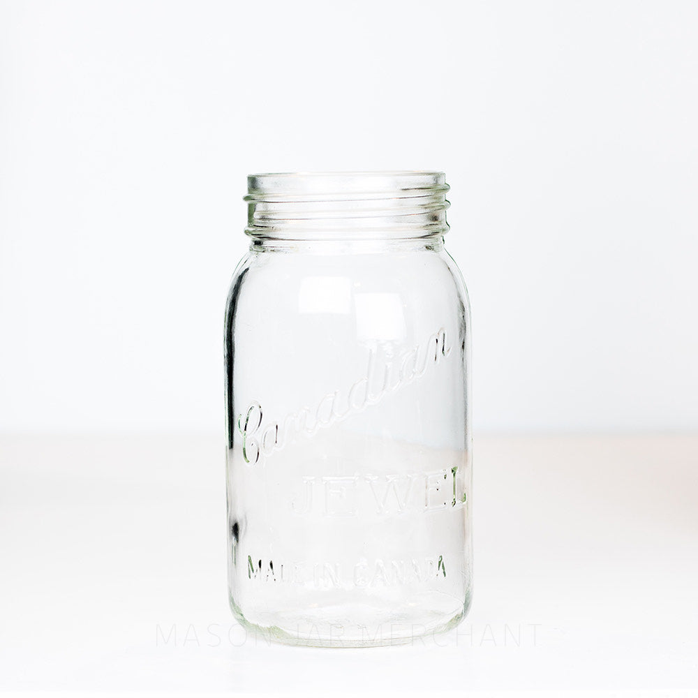 Vintage Canadian Jewel Made In Canada Gem Mouth Quart Jar on white background.