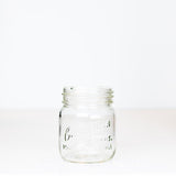 Adorable gem mouth 13 oz mason jar with Canadian Jewel logo, on a white background