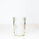 Wide mouth pint Ball mason jar against a white background