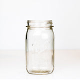 Wide mouth quart mason jar with Ball Special logo, on a white background