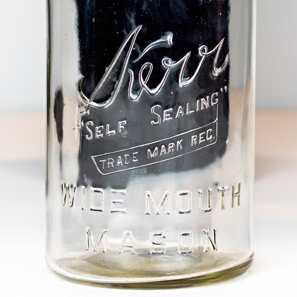 Kerr 1940's Round Body {Trade Mark Reg.} Wide Mouth Quart